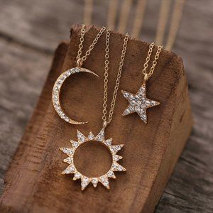 Jewelry - Gold dainty Moon, Sun, Star Rhinestone Necklace
